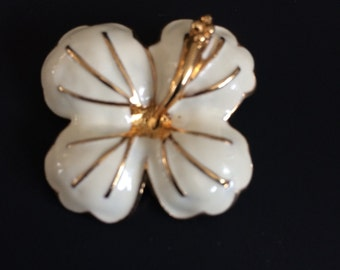 White Enamel Hibiscus Gold Trim Flower Pin