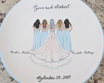 Wedding Illustration Plate - Bride Tribe - Hand painted Wedding Plate - Gift for the Bride - Bridesmaids - Bridal Shower -Personalized Plate