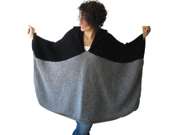 NEW! Black - Gray Pelerine by AFRA Over Size Plus Size