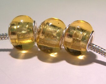 2 bead charm European - glass lampwork - 14 x 10 mm - translucent honey - D34 - 8