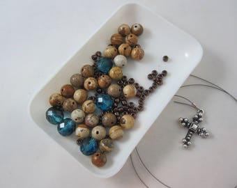 DIY Prayer Bead Kit - Teal Fire-Polished Glass with Picture Jasper