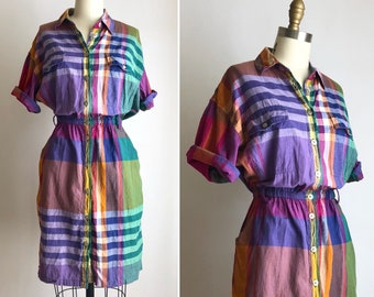 vintage plaid dress S-M ~ 80s Indian cotton button down dress