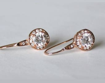 Rose gold CZ bridesmaids earrings, Cubic Zirconia drop earrings, Bridesmaids gift, Bridal party earrings, Gold bridal earrings, wedding gift