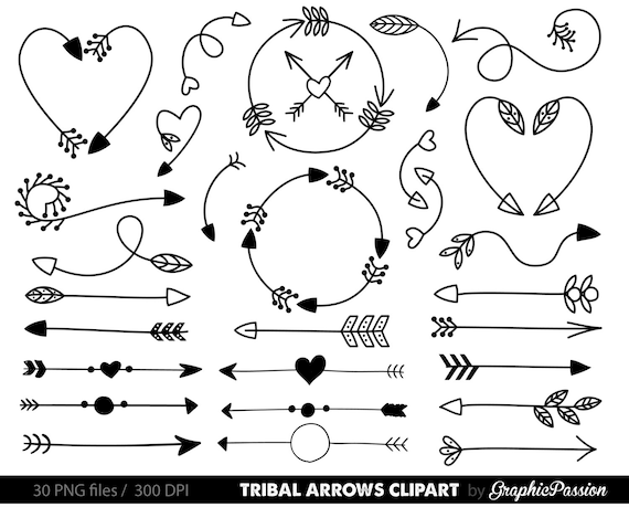 Line Art Arrow : Arrows clip art tribal arrow archery hand drawn