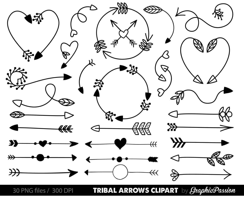 arrows clip art tribal arrow clip art archery hand drawn. Black Bedroom Furniture Sets. Home Design Ideas
