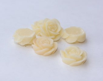 10 OPEN ROSE Cabochons - 20mm - Cream Color