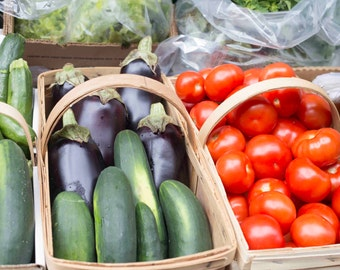 Photo Print - Basket of Vegetables, Eggplant, Tomatos, Cucumbers, Zucchini, Farmers Market