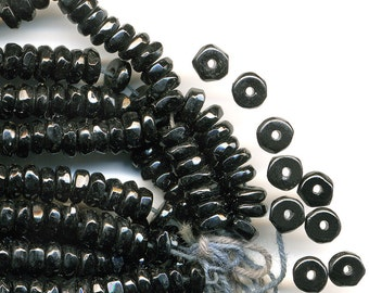 Vintage Black Beads 5mm Faceted French Jet Rondelles Circa 1920s 50 Pcs.