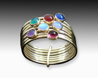 Your Week Ring - gold rings with semi-precious stones
