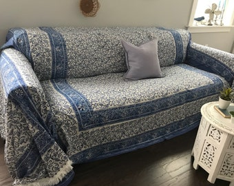 Bohemian SofaScarf/Blue and White with Fringe