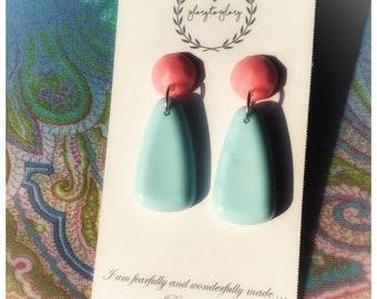 Pop Retro |earrings |dangle | Blue |Pink