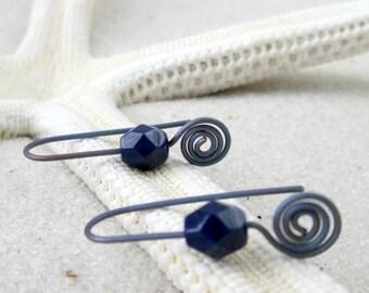 Hypoallergenic Earrings for Sensitive Ears - Pure Titanium Earrings - Czech Glass Dangle Earrings - Navy Blue Earrings - Drop Earrings