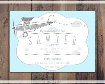 AIRPLANE FIRST BIRTHDAY Digital Invitation, First Birthday Invitation, Airplane Birthday, Custom Invitation, First Birthday, Boy Birthday