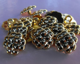 """17 Gold Quilted Clover Small Shank Buttons Size 9/16""""."""