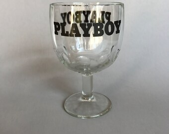 PLAYBOY GLASS, Vintage Playboy goblet, Thumbprint goblet, Vintage kitchen goblet, vintage decor, vintage barware, gift for dad, Playboy gift
