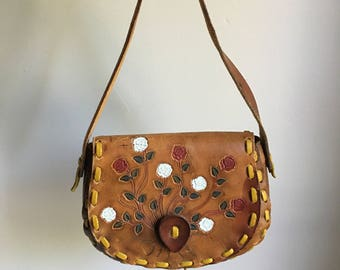 70s Rare Handmade Tooled Leather Purse