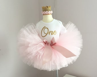 Blush birthday outfit, Blush and Gold tutu, Crown headband, Baby Girl birthday outfit