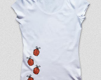 T-shirt Women's ladybug, color white