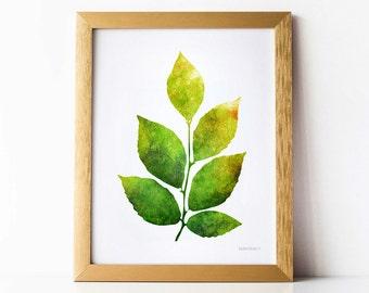 Leaves art, Leaf print, Living room wall decor Living room wall art, Plant print, Green wall art Digital artwork Nature art decor 8 x 10 art