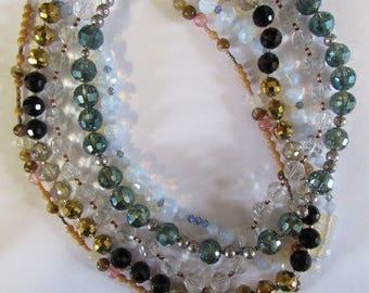 255 Beads, 5 Necklace Mix, Faceted 12mm 10mm Glass, 6mm, About 18 Inch Long, With Clasps, Take Apart Jewelry, Beading, Britz Beads Supply