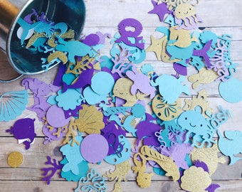 Mermaid Under the Sea Confetti, Party Confetti, Table Mermaid Confetti, Mermaid Birthday Confetti with Age