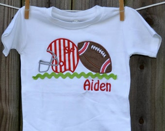 Personalized Initial Football & Helmet Post Applique Shirt or Bodysuit