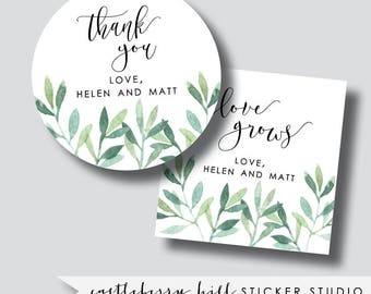 Greenery wedding stickers, greenery stickers, thank you stickers, greenery wedding decor, greenery favor labels