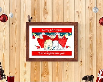 Personalised Guinea Pig Christmas Gifts Girlfriend Xmas Stocking Stuffers Festive Decor Red Winter Scene Animals Print Present Couples Gift