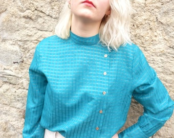 Pop Eve French vintage 1980's Emerald green & gold blouse