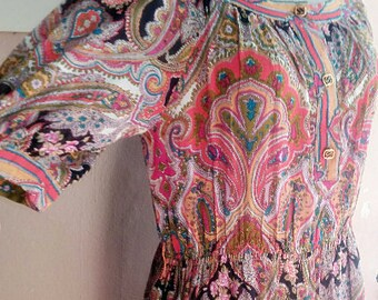M - 70s Boho Hippie Dress - Spring Summer Cotton Gauze Dress - Floral Paisley Print - Maximalist Japanese Vintage Size 11 - Medium