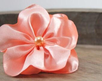 Salmon satin hair clip on flower