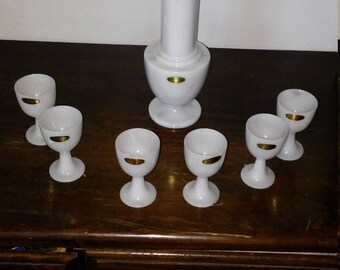 Vintage Chinese Marble decanter and cup set made in taiwan republic of china