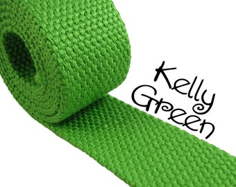 """Cotton Webbing - Kelly Green - 1.25"""" Medium Heavy Weight for Key Fobs, Purse Straps, Belting - SEE COUPON"""