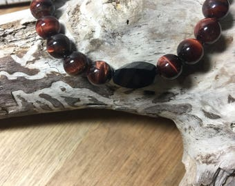 Mens luxurious Red Tigers Eye and Faceted onyx bracelet
