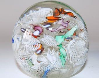 Vintage Murano Glass Scrambled Latticino Ribbon And Aventurine Paperweight