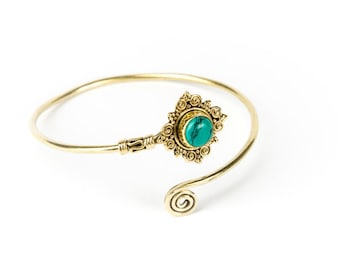 Boho Tribal Bangle Turquoise Gemstone Bracelet Adjustable Gift Boxed + Giftbag + Free UK Delivery
