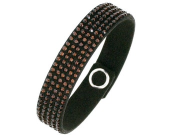 Made with SWAROVSKI© Elements Crystal & Leather Mocca / Brown
