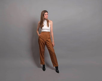 70s High-Waisted Silk Pants / Vintage 70s Pants / High-Waist Pleated Trousers / Tailored Pants Δ size: M