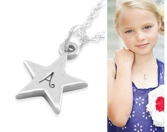 Star Necklace, Sterling Silver, engraved initial, little girls birthday gifts, childrens jewelry, for niece, granddaughter, sisters, AUBREY