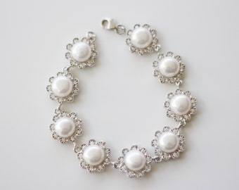 Sterling Silver Fresh Water Pearl, Cubic Zirconia Bracelet
