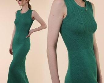 1970's Sweater Maxi Dress / Green 70s 80s Knit Dress / Saint Michelle Brand Vintage Sleeveless Maxi Dress / Amazing Retro Dress