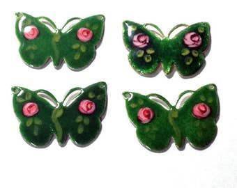 Butterfly Vintage Guilloche Green Rose Enamel Connector or Charm - Set of 4