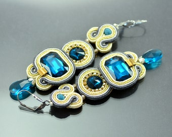 Long blue earrings, soutache earrings, sparkling earrings, long dangle earrings, long earrings blue, elegant earrings, gold stylish jewelry