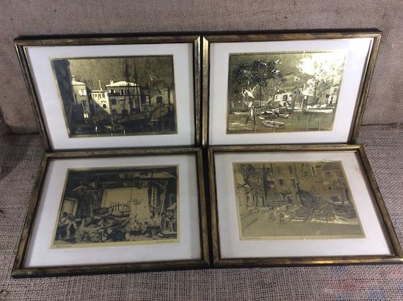 Vintage Lionel Barrymore gold foiled etchings, Little Boatyard Venice, Old Red Bank, Old Boat Work, Courtyard Venice, Lionel Barrymore art