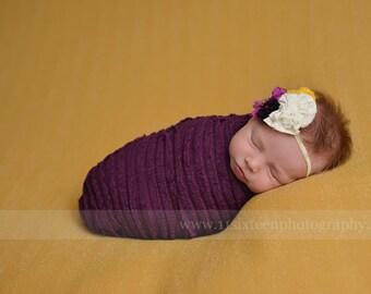 Ruffle Stretch Fabric Wrap Eggplant Purple Newborn Photography Prop Posing Swaddle