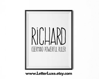 Richard Printable Kids Gift - Name Meaning Art - Baby Shower Gift - Nursery Art - Digital Print - Nursery Decor - Typography Wall Decor