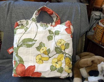 Cotton Shopping Tote Bag, Yellow Bell Flowers Print