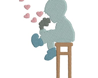 Silhouette little boy vintage machine embroidery design download