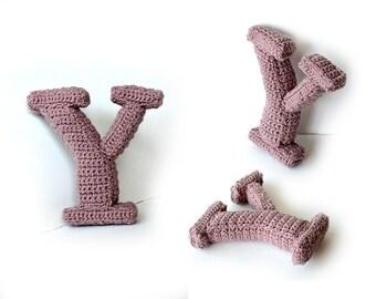 Letter Y Crochet Pattern, 3D Alphabet crochet pattern, 3d words pattern, 3d letters pattern, words home deco, decorative letters crochet