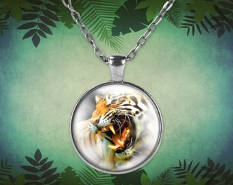 Angry tiger, beautiful photo showing his sharp teeth on a round style pendant necklace in black or silver